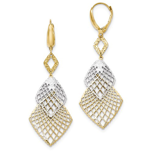 14kt Two-tone Gold Open Lattice Leverback Earrings