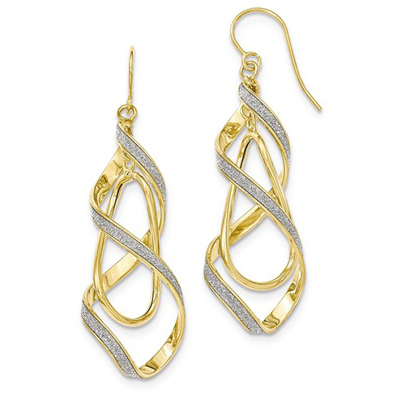 14k Yellow Gold Italian Glitter Spiral Leverback Earrings 2 1/4in