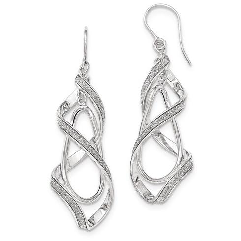 14kt White Gold 2 1/4in Italian Glitter Spiral Leverback Earrings