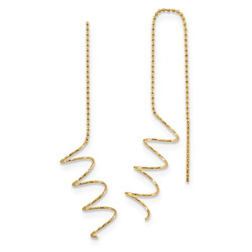 14k Yellow Gold Spiral Threader Earrings