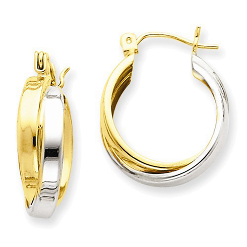 14kt Two-tone Gold 3/4in Hinged Double Hoop Earrings 6mm