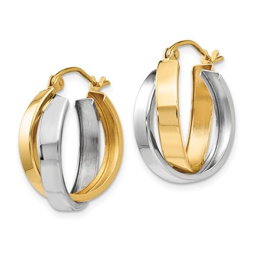 14kt Two-tone Gold 3/4in Hinged Double Hoop Earrings 6mm