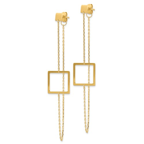 14k Yellow Gold Front to Back Open Square Earrings