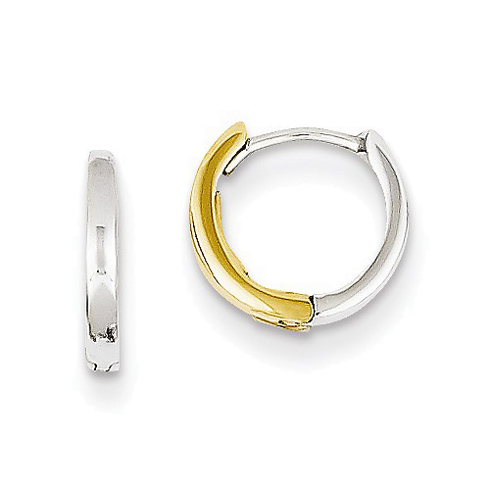 14kt Two-tone Gold 3/8in Hinged Hoop Earrings 2mm
