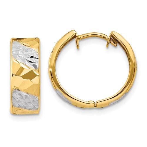 14kt Two-tone Gold 1/2in Diamond-cut Huggie Earrings 5.5mm