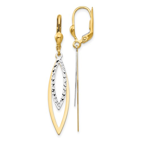14kt Two-tone Gold Pointed Oval Diamond-cut Leverback Earrings