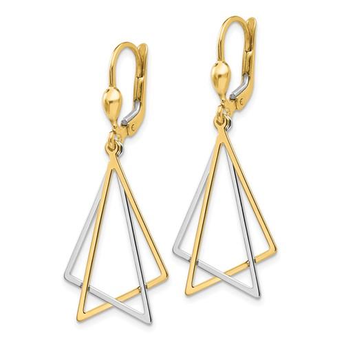 14kt Two-tone Gold Open Triangle Leverback Earrings