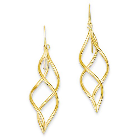 14kt Yellow Gold Swirl Fancy Dangle Shepherd Hook Earrings