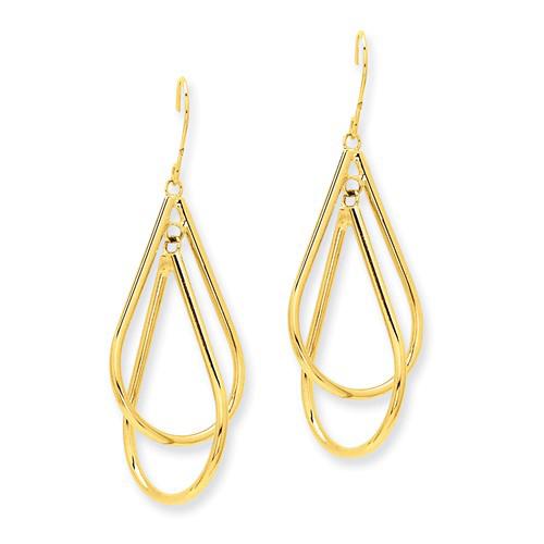 14kt Yellow Gold 1 1/2in Fancy Tear Drop Hoop Dangle Earrings