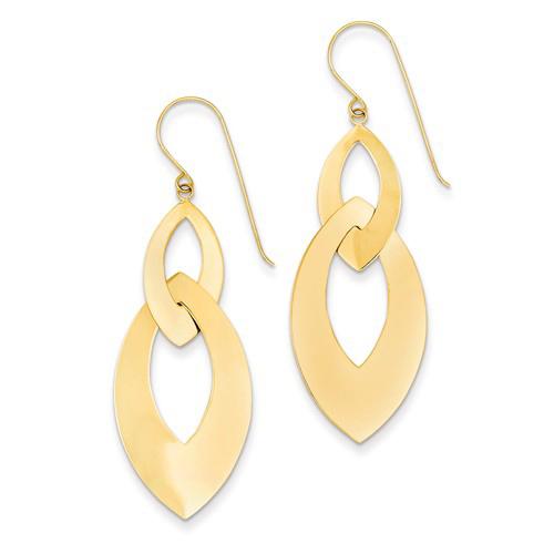 14kt Yellow Gold 2in Dangle Ovals Earrings