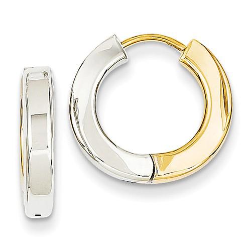 14kt Two-tone Gold 3/4in Hinged Hoop Earrings