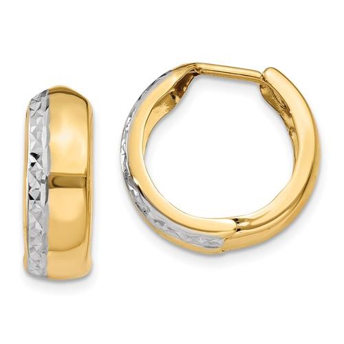 14kt Two-tone Gold 5/8in Huggie Earrings 6mm