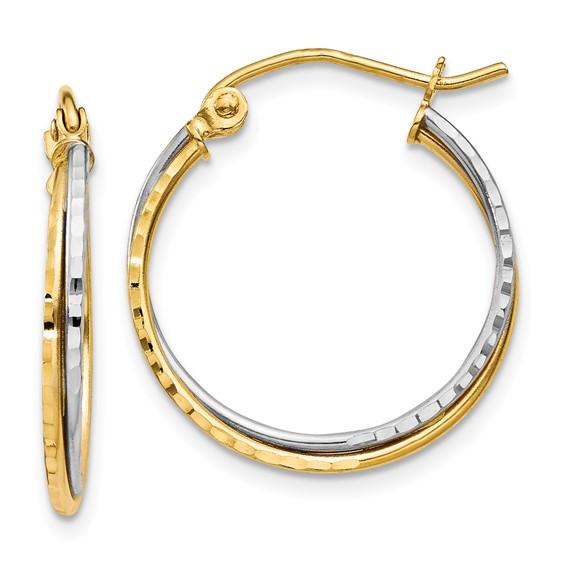 14kt Two-tone Gold 3/4in Twisted Diamond-cut Slender Hoop Earrings