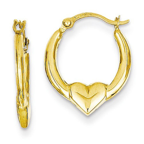14kt Yellow Gold 5/8in Heart Hoop Earrings