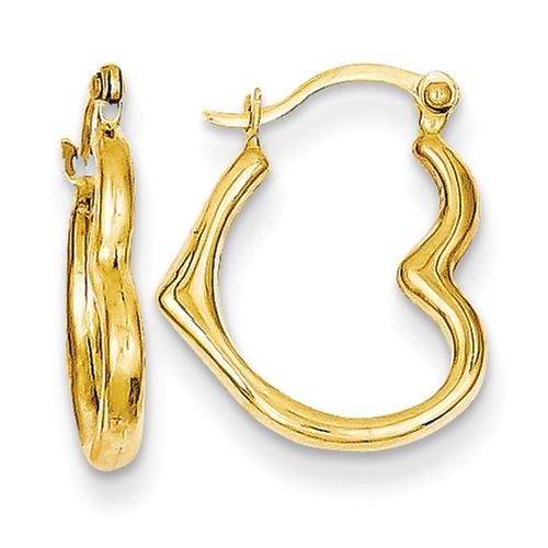 14k Yellow Gold Small Sideways Heart Hoop Earrings