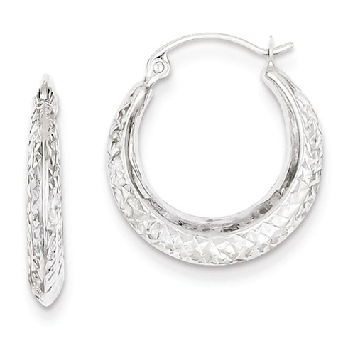 14kt White Gold 3/4in Hollow Textured Hoop Earrings