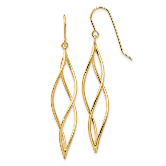 14kt Yellow Gold Long Twisted Dangle Shepherd Hook Earrings