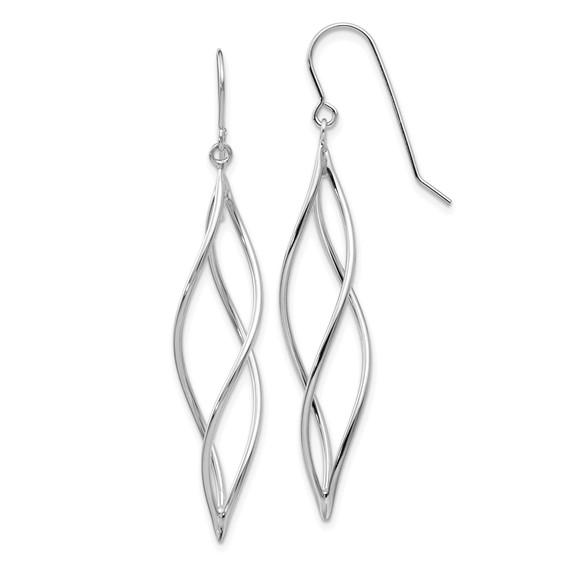 14kt White Gold 1 3/4in Long Twisted Swirl Dangle Earrings