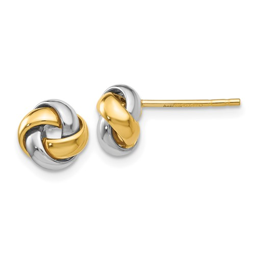 14kt Two-tone Gold Mini Love Knot Earrings