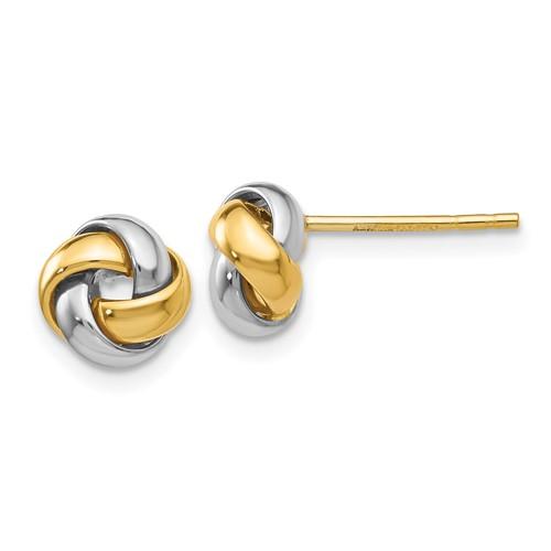 14kt Two-tone Gold Mini Love Knot Earrings