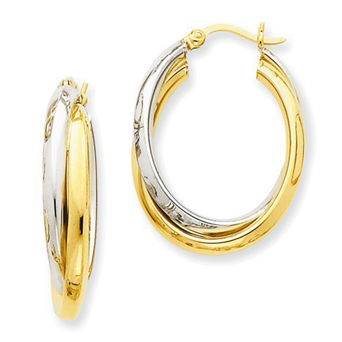 14kt Two-tone Gold 1in Double Oval Hoop Earrings 6mm