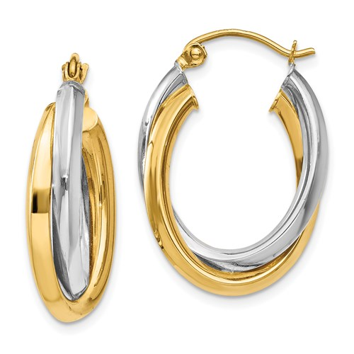 14kt Two-tone Gold 7/8in Double Oval Hoop Earrings 4mm