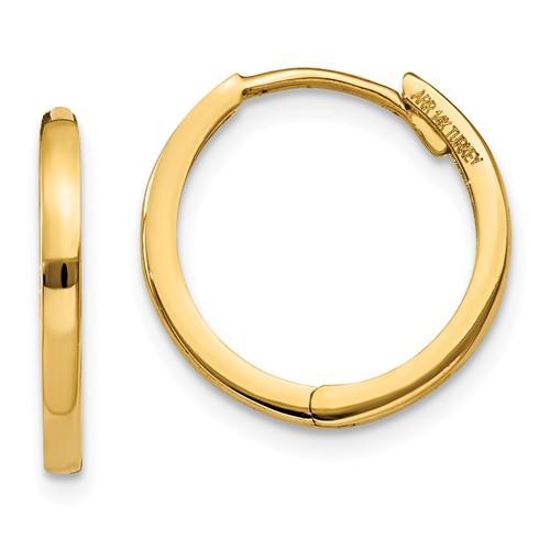 14kt Yellow Gold 1/2in Hinged Hoop Earrings 1.5mm