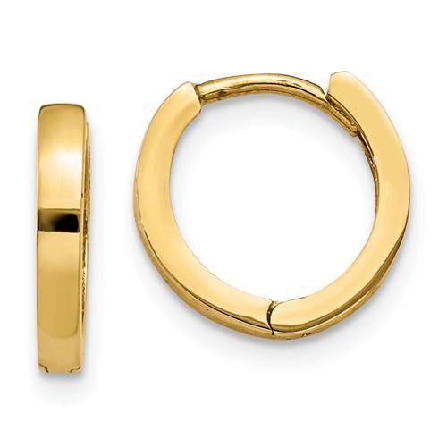 14kt Yellow Gold 7/16in Hinged Hoop Earrings 2mm