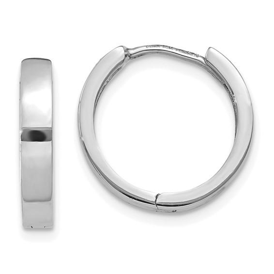 14kt White Gold 1/2in Hinged Hoop Earrings 3mm