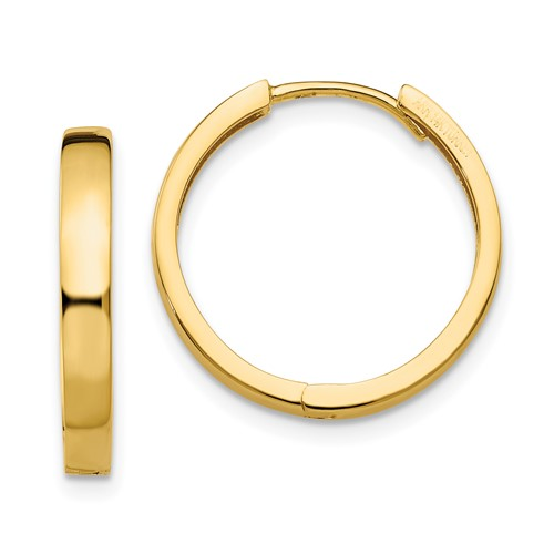 14kt Yellow Gold 3/4in Hinged Hoop Earrings 3mm