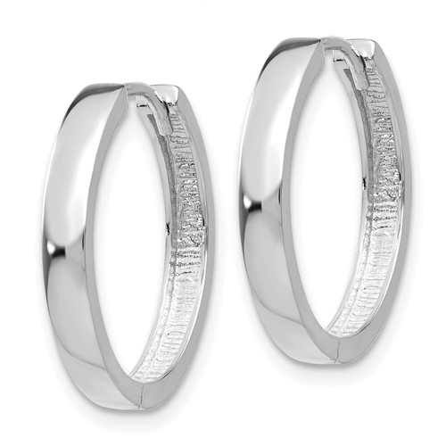 14kt White Gold 3/4in Hinged Hoop Earrings 3mm