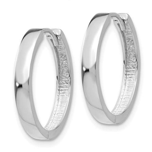 14kt White Gold 3/4in Hinged Hoop Earrings 3mm