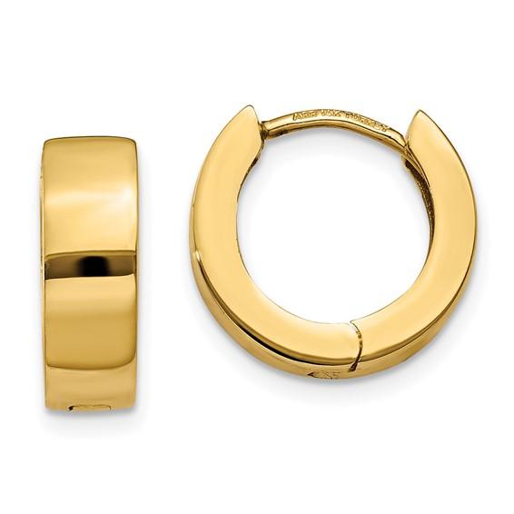 14kt Yellow Gold 1/2in Hinged Hoop Earrings 4.5mm