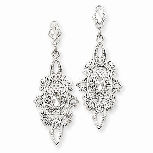 14kt White Gold Diamond-cut Filigree Dangle Earrings