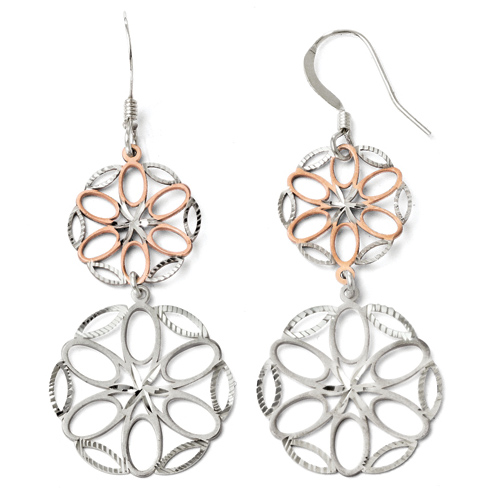 Sterling Silver Rose Gold-plated Petals Shepherd Hook Earrings