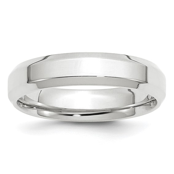 14kt White Gold 5mm Bevel Edge Comfort Fit Wedding Band