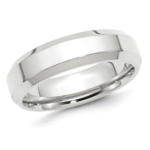 14kt White Gold 6mm Bevel Edge Comfort Fit Wedding Band