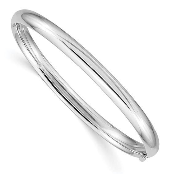 14kt White Gold 5in Hinged Baby Bangle Bracelet