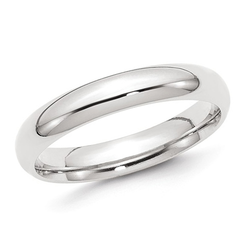 14kt White Gold 4mm Comfort Fit Polished Wedding Band
