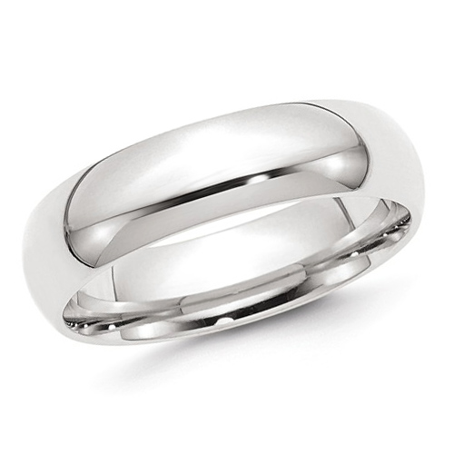 14kt White Gold 6mm Comfort Fit Polished Wedding Band