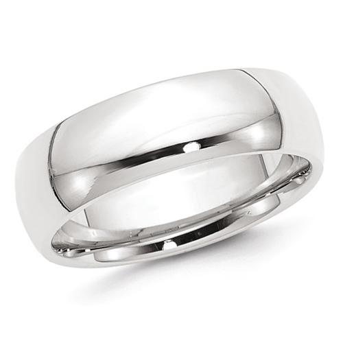 14kt White Gold 7mm Comfort Fit Polished Wedding Band
