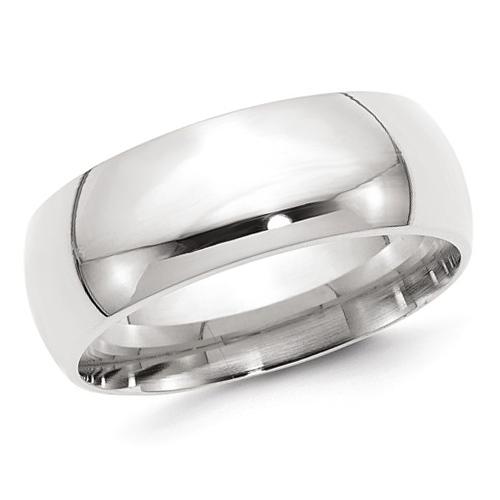 14kt White Gold 8mm Comfort Fit Polished Wedding Band