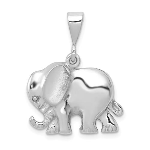 14k White Gold Small Elephant Pendant