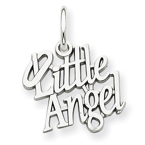 14kt White Gold 1/2in Little Angel Charm