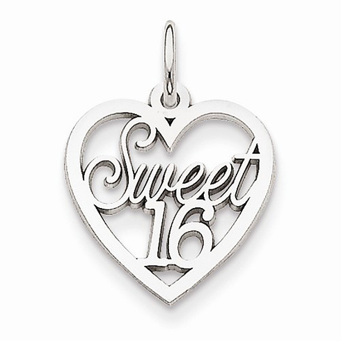 14kt White Gold 5/8in Heart Sweet 16 Charm