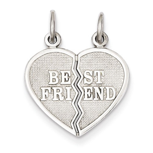 14kt White Gold 5/8in Best Friend Break Apart Heart Charm