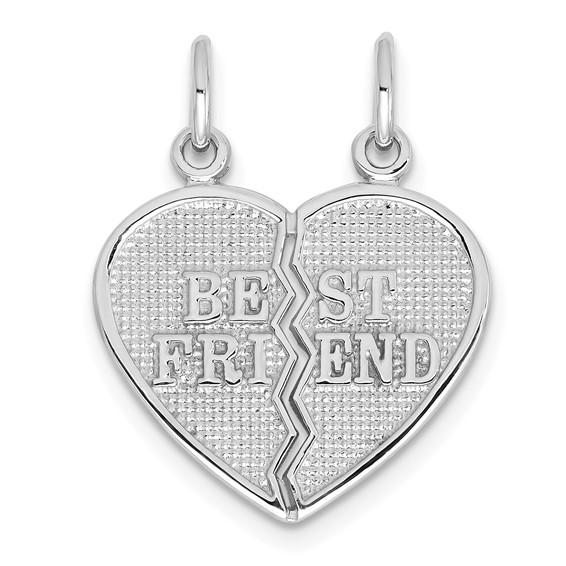 14kt White Gold 5/8in Best Friend Break Apart Heart Charm