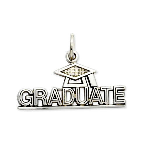 14kt White Gold 7/8in Graduate Charm