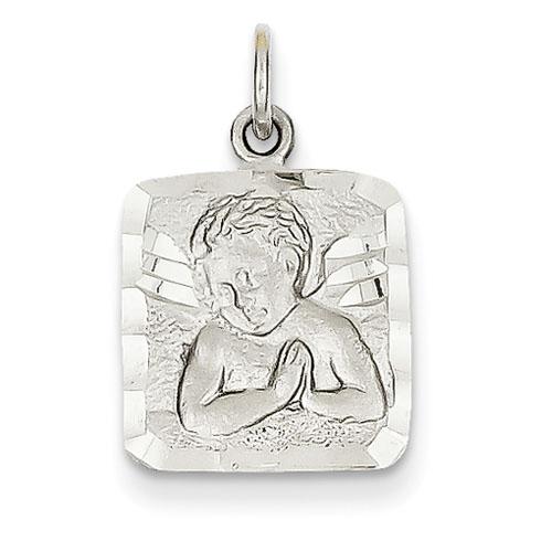 14kt White Gold 9/16in Satin & Diamond-cut Angel Charm