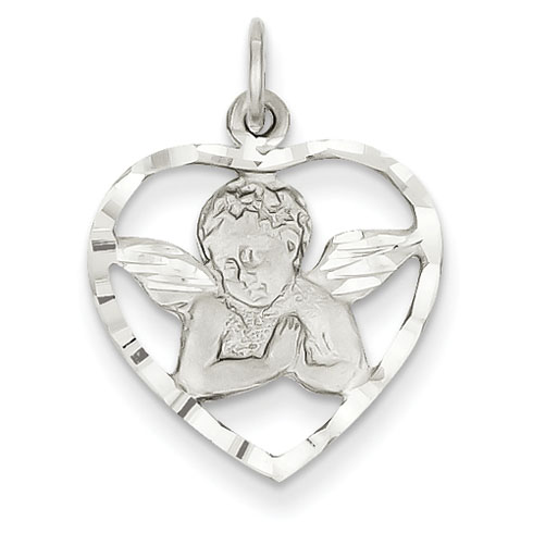 14k White Gold Praying Angel in Heart Charm 5/8in
